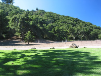 Pretty lawn and tree-covered hills at Toro Canyon Park.