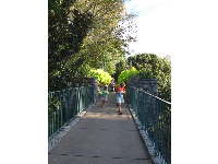 Girls walk along the raised walkway to the children's garden.
