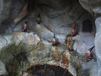 Alcove with gnome fountains in the children's garden.