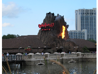 Rainforest Cafe has a volcano that erupts with fire!
