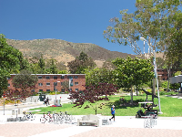 Campus, with the mountains behind.