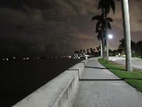 The waterfront at night, near the Ann Norton Sculpture Garden.