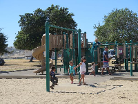 Kids playing on the playground.