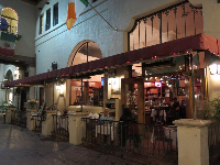 La Arcada Bistro, at night. On weekends, a cool Irish band called The Foggy Dew play there.