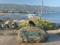 The dolphin statue at the end of the breakwater.