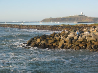 View of Pillar Point (where Mavericks waves crash out at sea), from Highway 1.