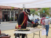 Living history demonstration at the presidio, at 9am on a weekday, for school groups.
