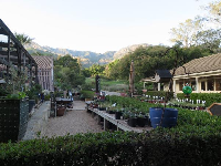 The garden store, with the mountains in the background.