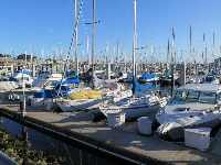 Boats at the harbor in the early morning.