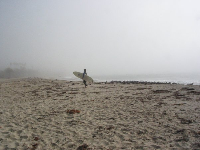 Surfer on a foggy November morning at Refugio Beach.