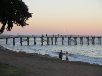 Goleta Beach at sunset.