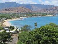 View of Mauna Lahilahi Beach, from Hawaiian Princess condo walkway.