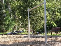 Swings and a bench.