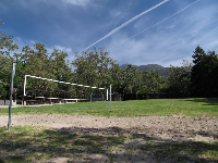 The volleyball court.