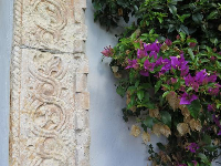 Engraved sandstone and bougainvillea.