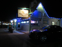 Sun-N-Buns Bakery looks cool at night.