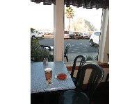 Pain au Chocolat, tea, and a view of Morro Rock, at La Parisienne.