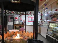 We loved the fire pit in Sun-N-Buns Bakery.