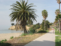 Jogging path that runs along Leadbetter Beach and all the way to Shoreline Park.
