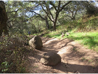 Boulders along the path.
