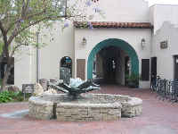 Fountain in Ojai Arcade Plaza, the shopping area behind the older, historic arcade.