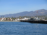 The pier, mountains, and West Beach.