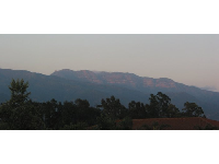 The Pink Moment lights up the Topa Topa range, as seen from Ojai Valley Inn.