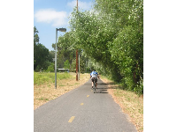 A bicyclist enjoys a sunny ride on the bike path near Modoc Rd.