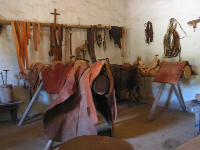 The leather shop- leather was used for the roof beams, ropes, soldiers' shields, pouches, shoes, saddles, and harnesses.