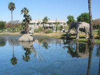 The pool of oil, and sculptures of mastodons.