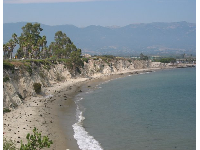 A crescent-shaped beach right below Lagoon Rd.