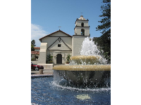 The Spanish fountain in Figueroa Square in front of the mission.