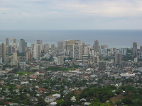 Views of Waikiki skyline from Tantalus.