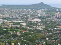 The amazing shape of Diamond Head- you can see clearly that it's a volcanic crater.