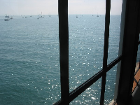 View from the big windows on the second floor of the sea center.