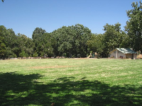 Large field and playground at Nojoqui Park. There are several play structures scattered about the area.