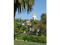 Main lawn, and Santa Barbara Unitarian Church tower behind.