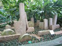 These ballast stones were used to balance the ships that sailed from Hawaii to China carrying sandalwood in the early 1800s.