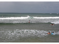 Small, manageable waves at Haleiwa Alii Beach.