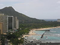See the rock wall of the Waikiki Beach Ocean Swimming Pool from above.