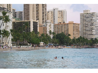 A perfect evening swim in front of the Moana Surfrider Hotel. See the jetties of Duke Kahanamoku Statue Beach in the background.