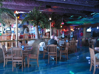 The ocean-themed interior of Jimmy Buffets.