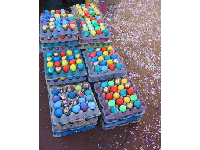 Fiesta eggs and confetti, at the mercado during Fiesta week.