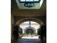 The hallway that leads into San Marcos Courtyard.