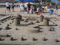 Awesome Pacman sand sculpture- typical for nerdy Goleta!