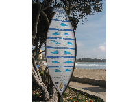 "Sign displaying ""Surfers Code: Give respect to gain respect."""