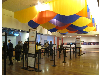 Colorful decorations at the ticket booth.