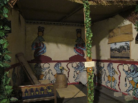 Replica of an Egyptian birthing room: the semi-outdoor room was sheltered with mats and aristolochia vines, the tincture of which induces labor.