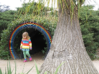 Sun prism tunnel, and a girl appropriately dressed!