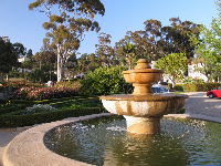 Spanish fountain at the entrance to the rose garden.
